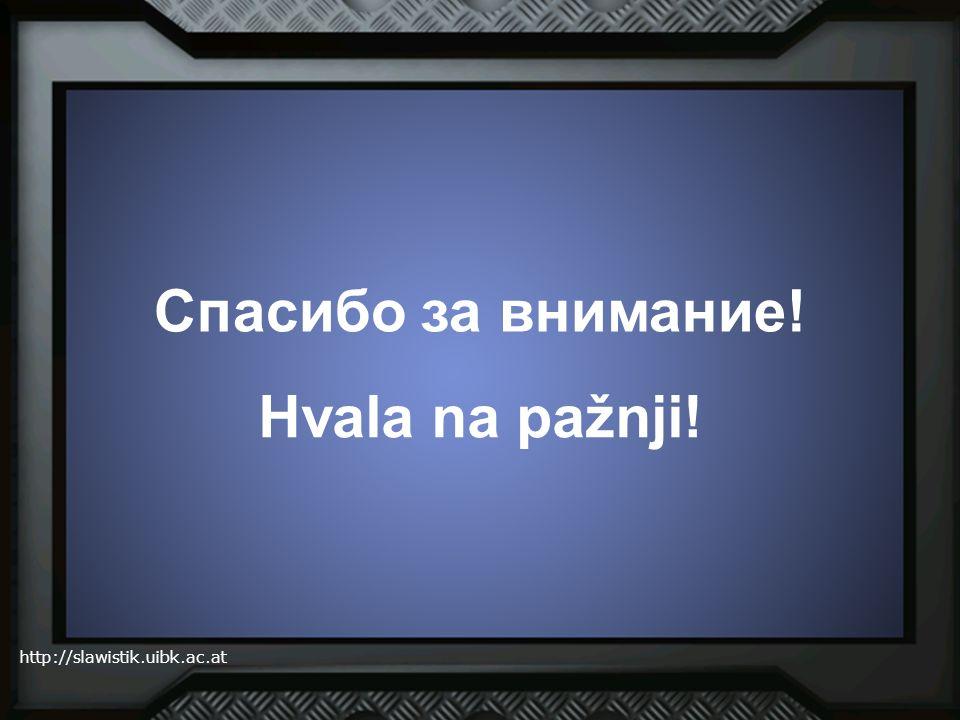 http://slawistik.uibk.ac.at Спасибо за внимание! Hvala na pažnji!