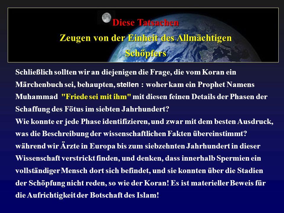 Diese Tatsachen Zeugen von der Einheit des Allmächtigen Schöpfers Schließlich sollten wir an diejenigen die Frage, die vom Koran ein Märchenbuch sei,