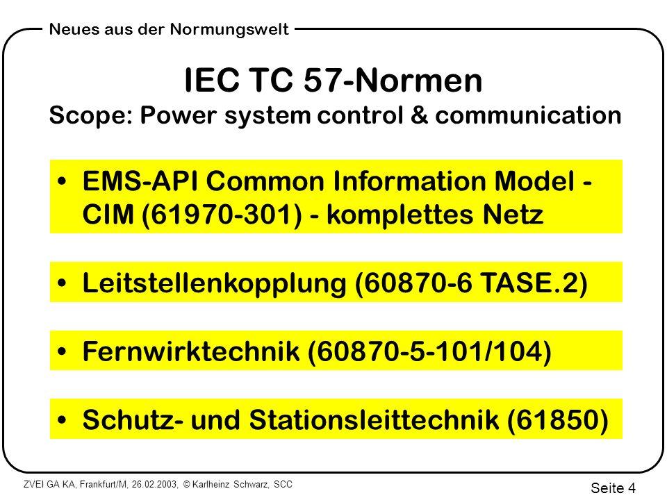 ZVEI GA KA, Frankfurt/M, 26.02.2003, © Karlheinz Schwarz, SCC Seite 25 Neues aus der Normungswelt IEC 61850 Substations (HV, MV) SCADA IEC 61400-25 Wind Power Wiederverwendung IEC 6?.