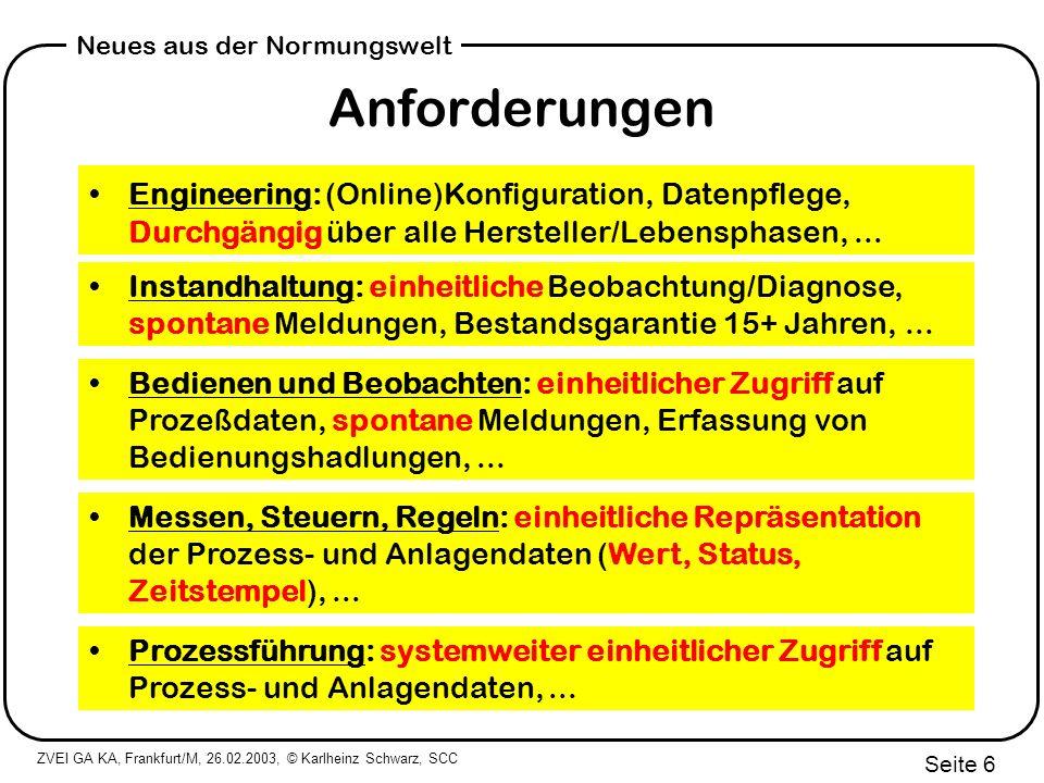 ZVEI GA KA, Frankfurt/M, 26.02.2003, © Karlheinz Schwarz, SCC Seite 17 Neues aus der Normungswelt Die Antwort: Hannover Messe 2002 IEC 61850: one world one technology one standard Quelle: RWE, ABB, Alstom, Siemens (HMI 2002) AEP
