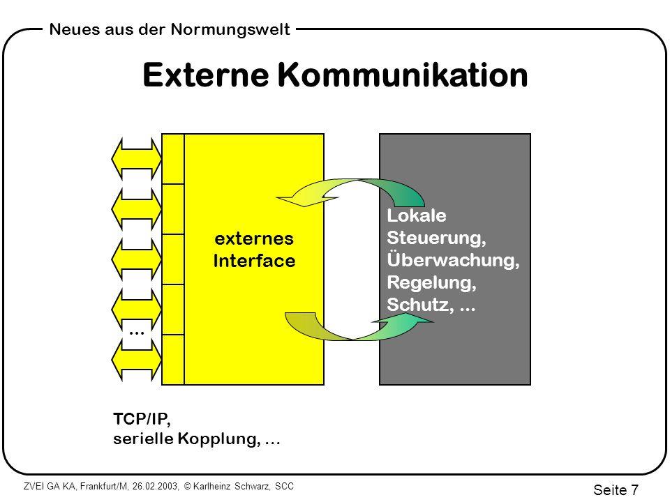 ZVEI GA KA, Frankfurt/M, 26.02.2003, © Karlheinz Schwarz, SCC Seite 8 Neues aus der Normungswelt Externes Interface (Was, Wann) Informationen (was kommunizieren?) Informationen (was kommunizieren?) WEA: 3000+ ?Status (momentan, Reihe, Zähler) ?Messwert / abgeleitete Werte (momentan, Reihe, Zähler) ?Steuerwerte ?Sollwerte ?Parametersätze ?Uhrzeit ?Selbstbeschreibung/Konfiguration