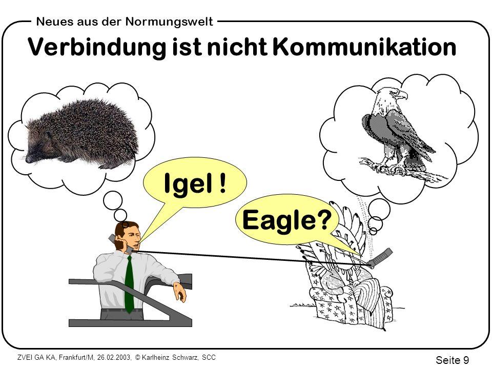 ZVEI GA KA, Frankfurt/M, 26.02.2003, © Karlheinz Schwarz, SCC Seite 10 Neues aus der Normungswelt Gute Basis für Normen + deadband + range + units + sample rate + scale + description...