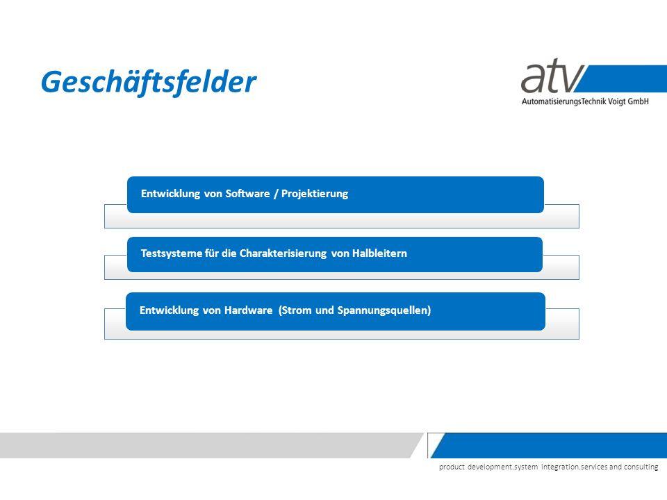 product development.system integration.services and consulting Geschäftsfelder Entwicklung von Software / Projektierung Testsysteme für die Charakterisierung von Halbleitern Entwicklung von Hardware (Strom und Spannungsquellen)
