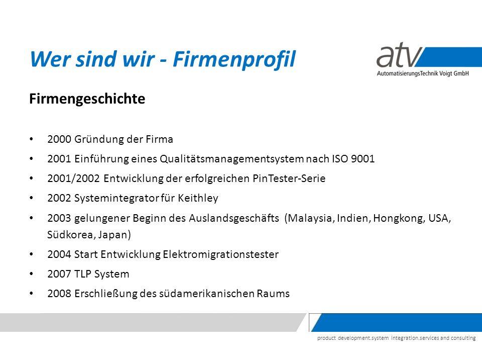 product development.system integration.services and consulting Firmengeschichte 2000 Gründung der Firma 2001 Einführung eines Qualitätsmanagementsyste