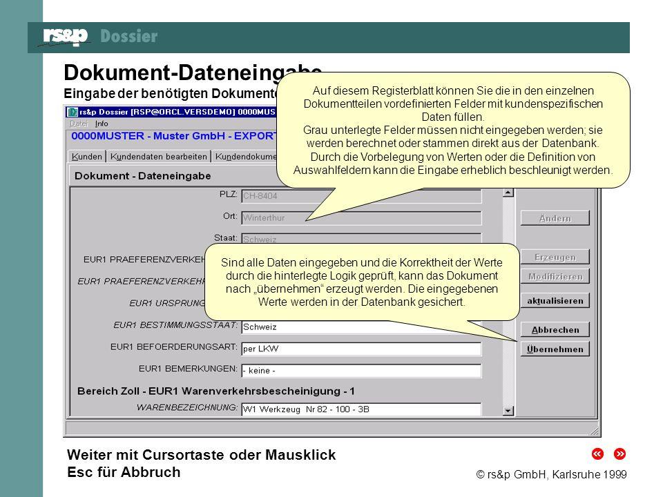 © rs&p GmbH, Karlsruhe 1999 Dokument-Dateneingabe Eingabe der benötigten Dokumentdaten für das neue Dokument oder die neue Version Auf diesem Register