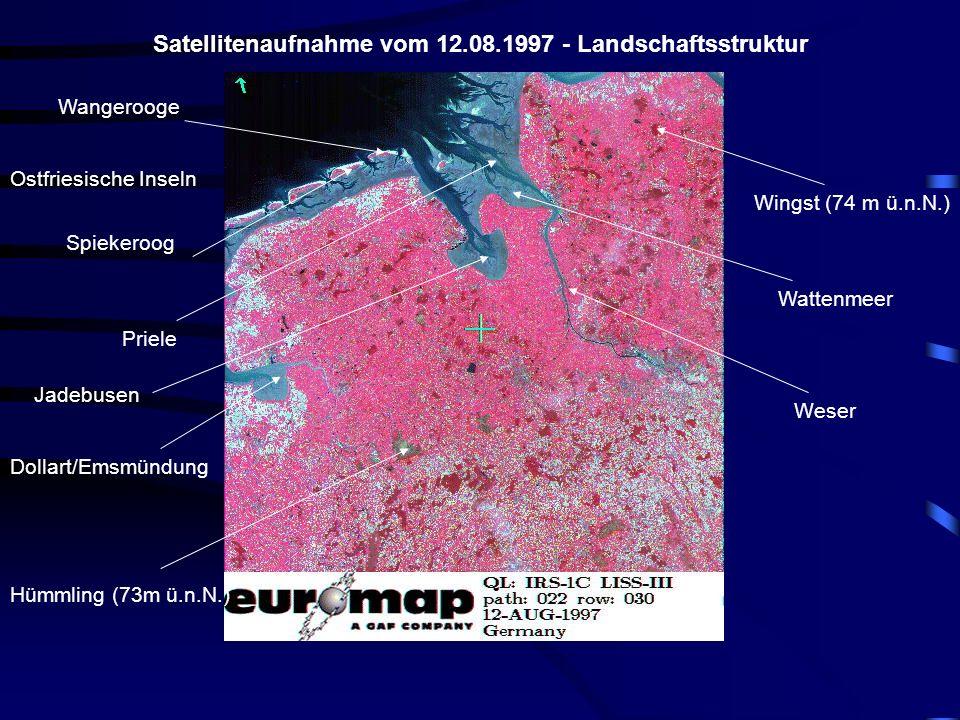 Satellitenaufnahme vom 12.08.1997 - Landschaftsstruktur Ostfriesische Inseln Wangerooge Spiekeroog Dollart/Emsmündung Jadebusen Wattenmeer Weser Hümmling (73m ü.n.N.) Wingst (74 m ü.n.N.) Priele