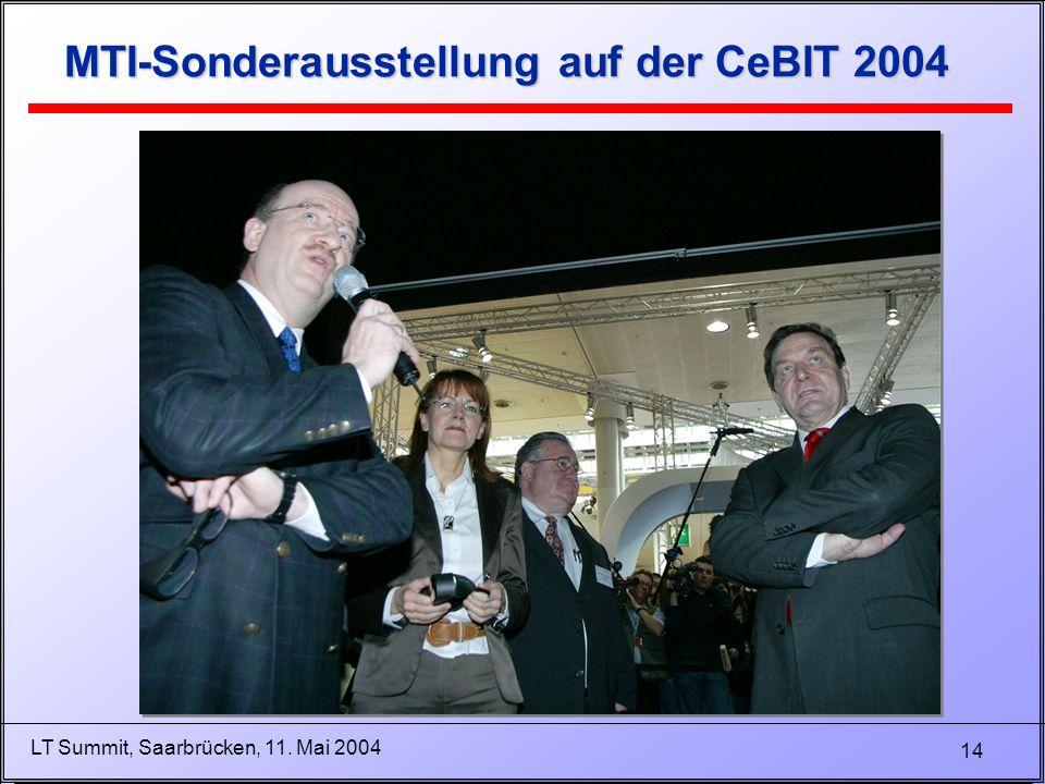14 LT Summit, Saarbrücken, 11. Mai 2004 MTI-Sonderausstellung auf der CeBIT 2004