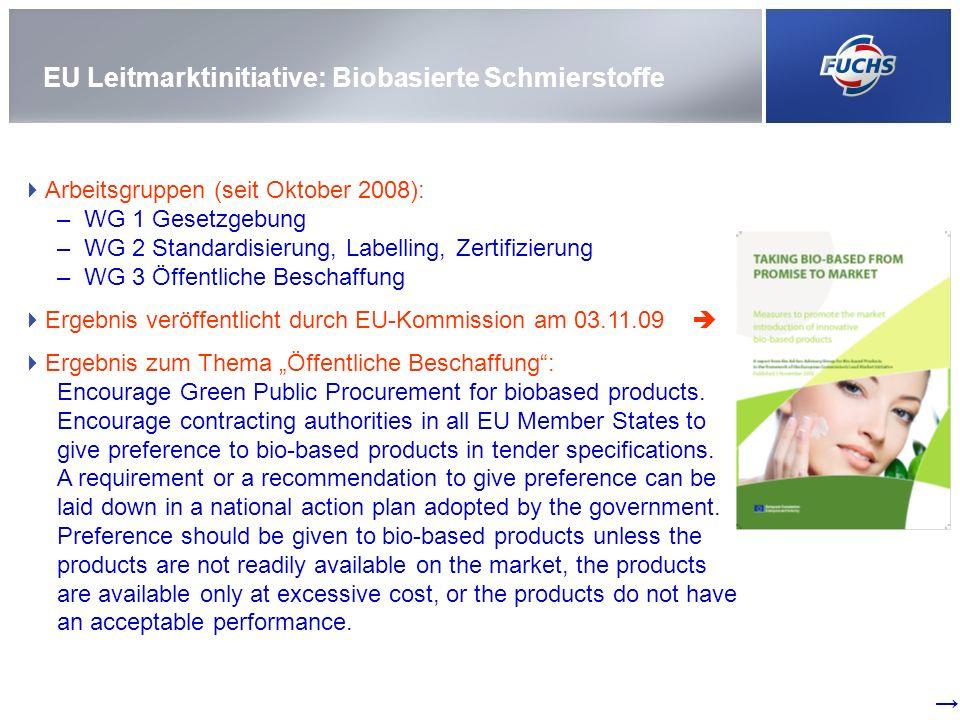 Umweltverträgliche Schmierstoffe: Produkt-Historie Die PLANTO ENVIRO-Produkte … …sind mit dem EU-Umweltzeichen ausgezeichnet …zeichnen sich demnach durch geringfügige Schädigung von Wasser und Boden bei der Anwendung, verringerte CO2-Emissionen aus …sind teilweise als nicht-wassergefährdend gemäß der deutschen Verwaltungsvorschrift wassergefährdende Stoffe (VwVwS) eingestuft.
