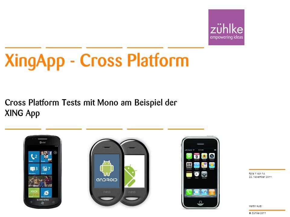 © Zühlke 2011 Martin Kutz XingApp - Cross Platform Cross Platform Tests mit Mono am Beispiel der XING App 22.