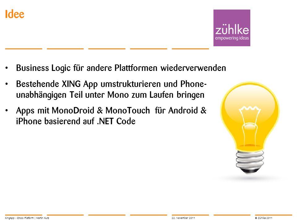 © Zühlke 2011 XingApp - Cross Platform Martin Kutz Software Architektur der WP7 XingApp 22.