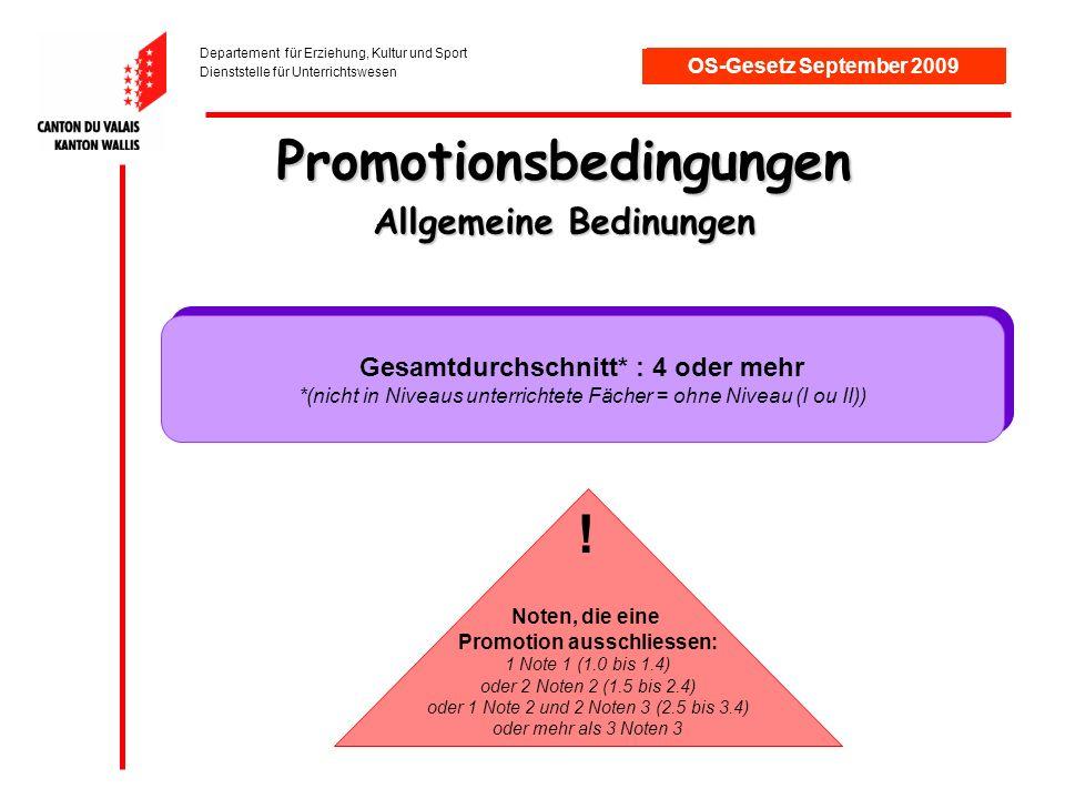 Departement für Erziehung, Kultur und Sport Dienststelle für Unterrichtswesen OS-Gesetz September 2009 Promotionsbedingungen Allgemeine Bedinungen Gesamtdurchschnitt* : 4 oder mehr *(nicht in Niveaus unterrichtete Fächer = ohne Niveau (I ou II)) Gesamtdurchschnitt* : 4 oder mehr *(nicht in Niveaus unterrichtete Fächer = ohne Niveau (I ou II)) Noten, die eine Promotion ausschliessen: 1 Note 1 (1.0 bis 1.4) oder 2 Noten 2 (1.5 bis 2.4) oder 1 Note 2 und 2 Noten 3 (2.5 bis 3.4) oder mehr als 3 Noten 3 !