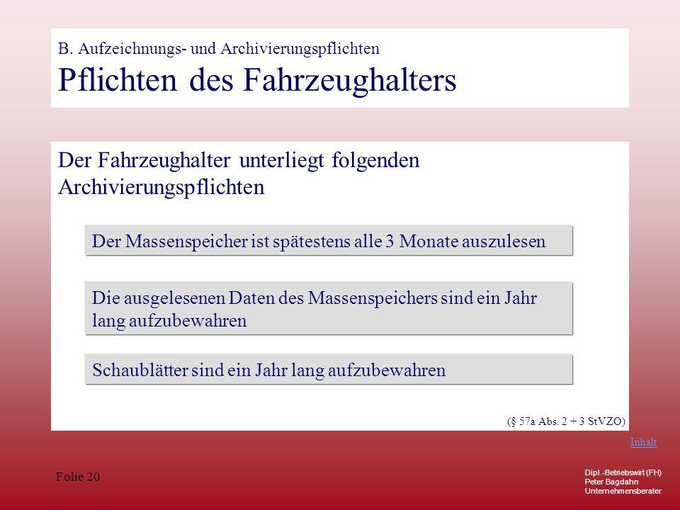 Dipl.-Betriebswirt (FH) Peter Bagdahn Unternehmensberater Folie 20 B. Aufzeichnungs- und Archivierungspflichten Pflichten des Fahrzeughalters Der Fahr