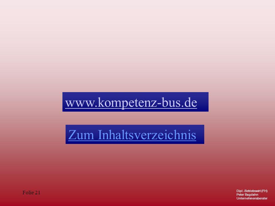 Dipl.-Betriebswirt (FH) Peter Bagdahn Unternehmensberater Folie 21 Zum Inhaltsverzeichnis www.kompetenz-bus.de
