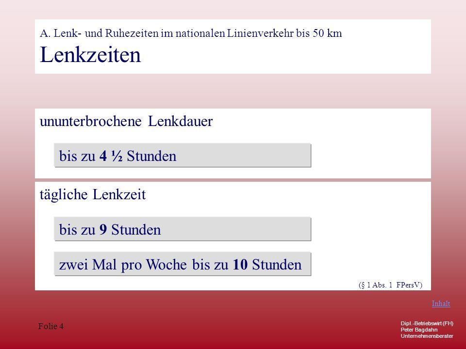 Dipl.-Betriebswirt (FH) Peter Bagdahn Unternehmensberater Folie 4 A. Lenk- und Ruhezeiten im nationalen Linienverkehr bis 50 km Lenkzeiten ununterbroc