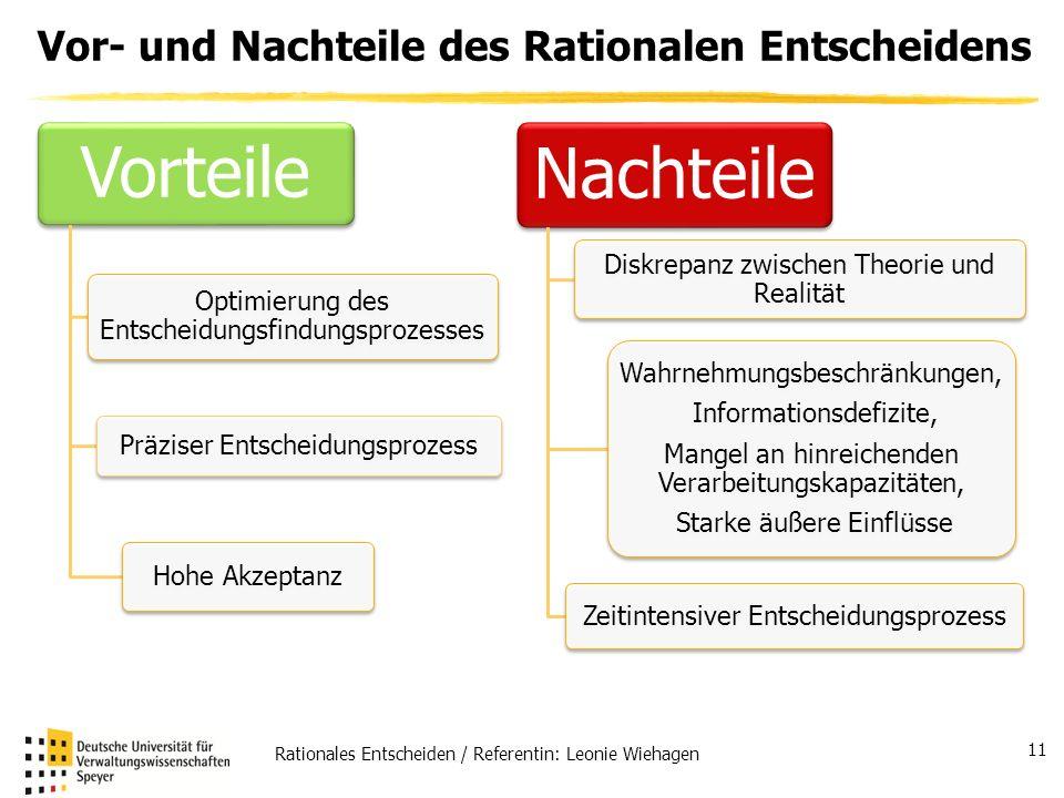 Rationales Entscheiden / Referentin: Leonie Wiehagen 11 Vor- und Nachteile des Rationalen Entscheidens Vorteile Präziser Entscheidungsprozess Optimier