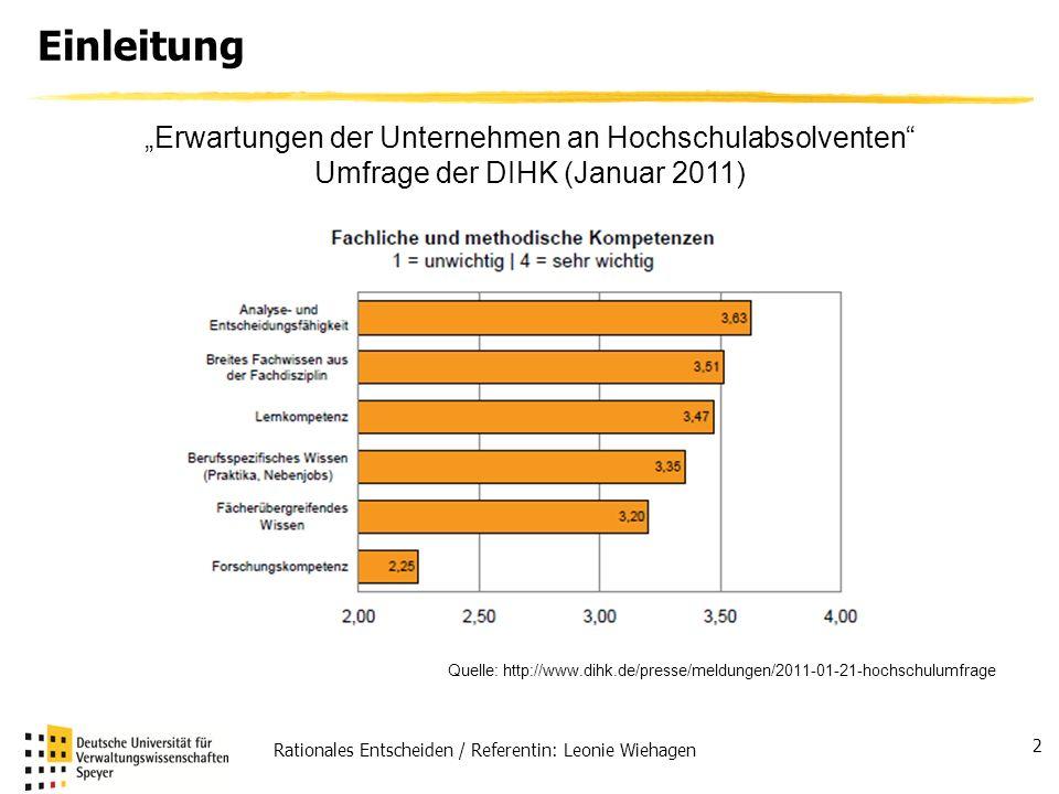 Rationales Entscheiden / Referentin: Leonie Wiehagen 2 Einleitung Erwartungen der Unternehmen an Hochschulabsolventen Umfrage der DIHK (Januar 2011) Q