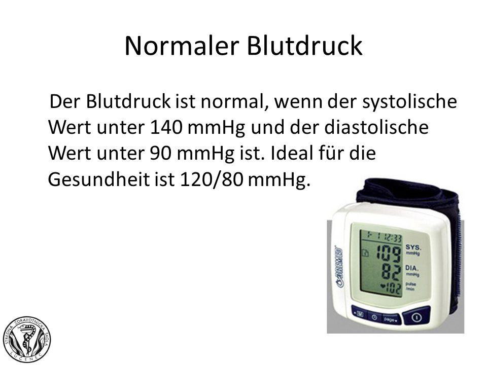 Normaler Blutdruck Der Blutdruck ist normal, wenn der systolische Wert unter 140 mmHg und der diastolische Wert unter 90 mmHg ist. Ideal für die Gesun