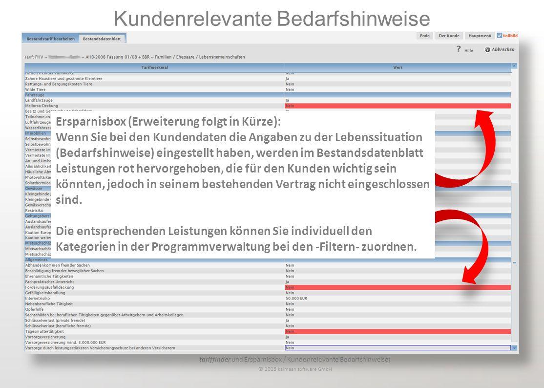 tariffinder und Ersparnisbox / Kundenrelevante Bedarfshinweise) © 2013 kaimaan software GmbH Kundenrelevante Bedarfshinweise Ersparnisbox (Erweiterung