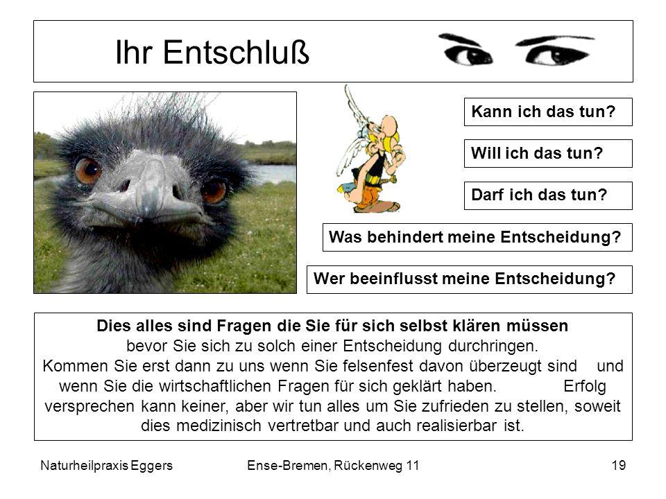 Naturheilpraxis EggersEnse-Bremen, Rückenweg 1119 Ihr Entschluß Kann ich das tun? Will ich das tun? Darf ich das tun? Was behindert meine Entscheidung