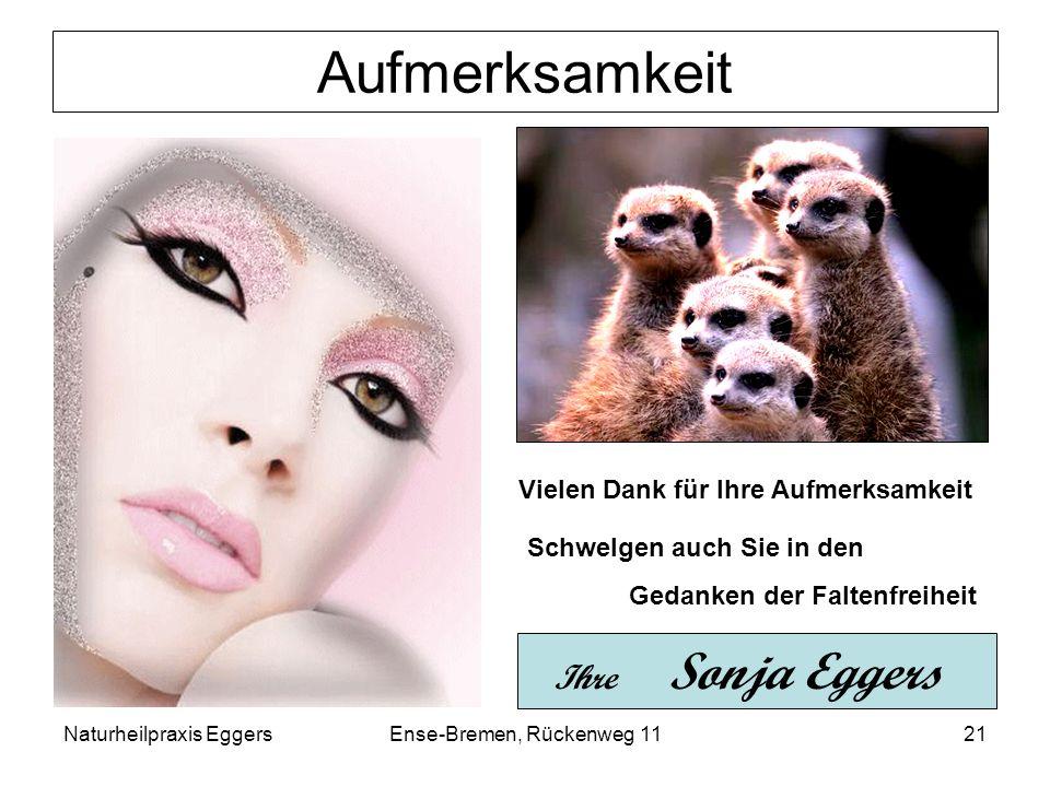 Naturheilpraxis EggersEnse-Bremen, Rückenweg 1121 Aufmerksamkeit Vielen Dank für Ihre Aufmerksamkeit Schwelgen auch Sie in den Gedanken der Faltenfrei