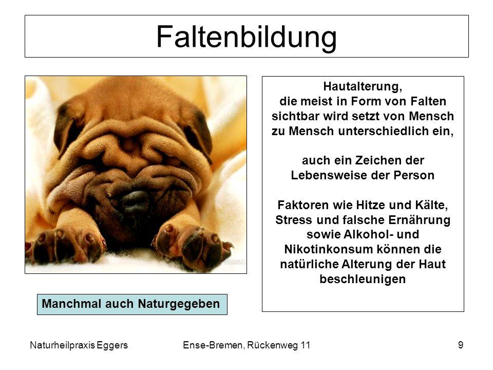 Naturheilpraxis EggersEnse-Bremen, Rückenweg 119 Faltenbildung Hautalterung, die meist in Form von Falten sichtbar wird setzt von Mensch zu Mensch unt
