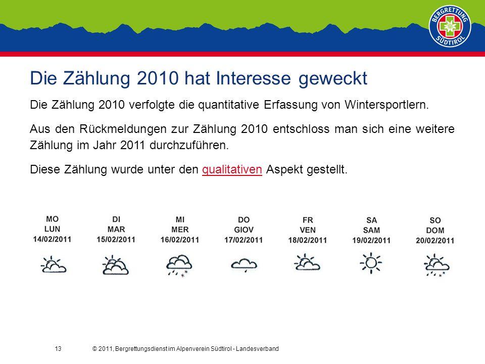 © 2011, Bergrettungsdienst im Alpenverein Südtirol - Landesverband13 Die Zählung 2010 hat Interesse geweckt Die Zählung 2010 verfolgte die quantitative Erfassung von Wintersportlern.