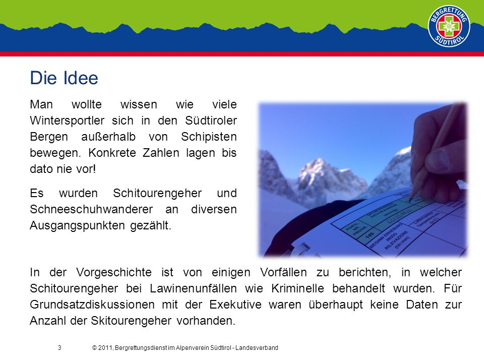 3 Die Idee Man wollte wissen wie viele Wintersportler sich in den Südtiroler Bergen außerhalb von Schipisten bewegen.