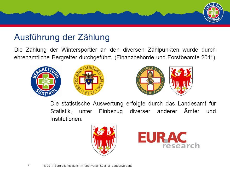 7 Ausführung der Zählung Die Zählung der Wintersportler an den diversen Zählpunkten wurde durch ehrenamtliche Bergretter durchgeführt.