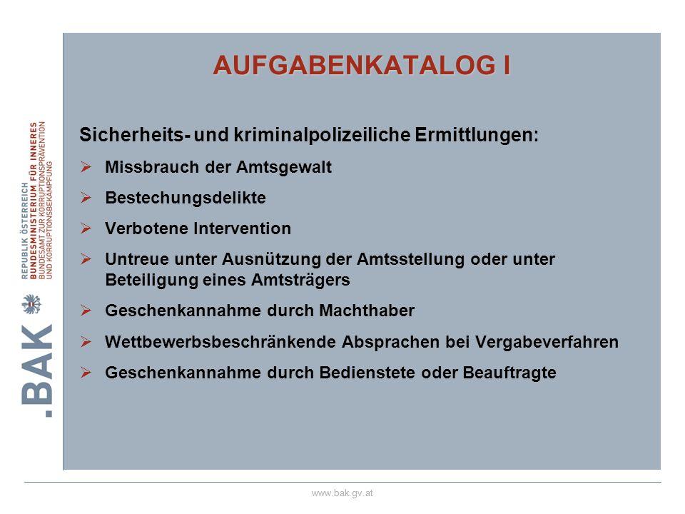 www.bak.gv.at AUFGABENKATALOG I Sicherheits- und kriminalpolizeiliche Ermittlungen: Missbrauch der Amtsgewalt Bestechungsdelikte Verbotene Interventio