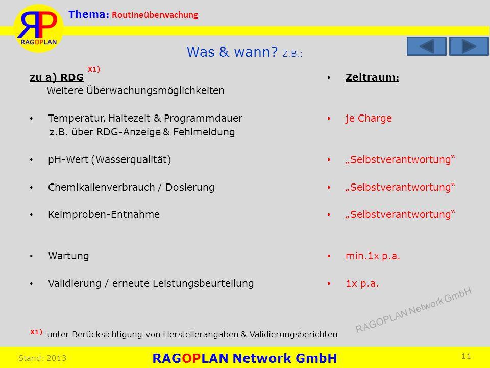 Thema: Routineüberwachung Stand: 2013 Zeitraum: je Charge Selbstverantwortung min.1x p.a. 1x p.a. 11 Was & wann? Z.B.: zu a) RDG Weitere Überwachungsm