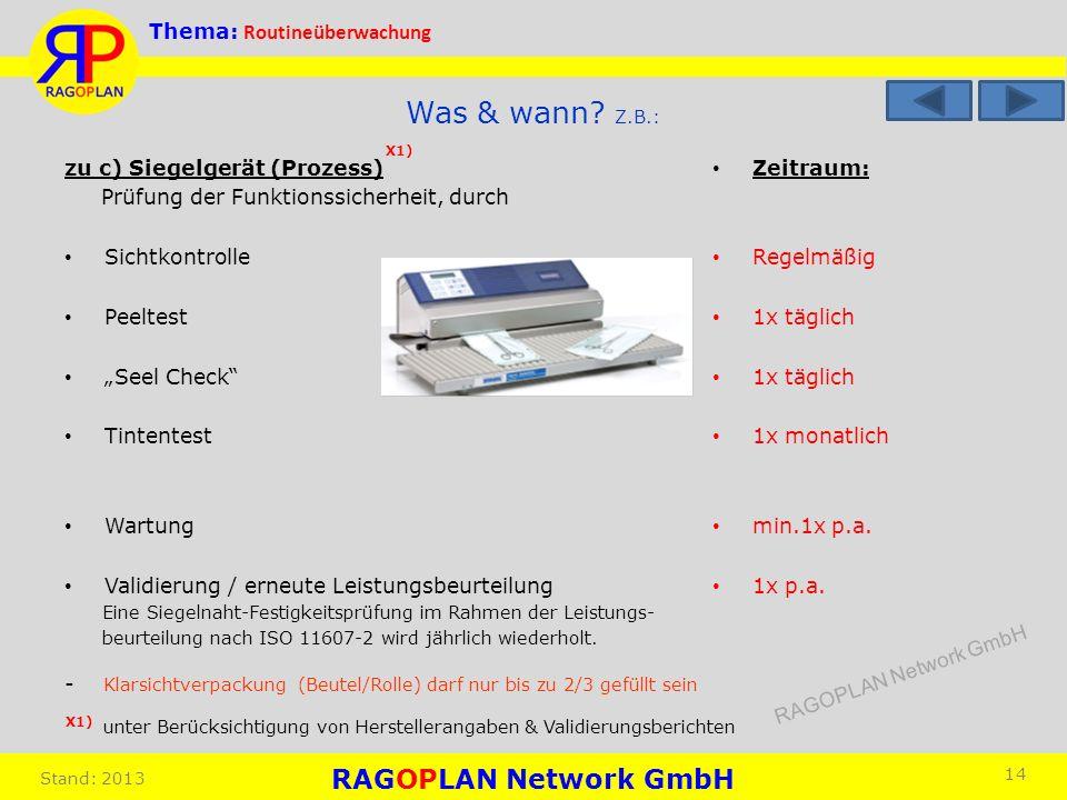 Thema: Routineüberwachung Stand: 2013 Zeitraum: Regelmäßig 1x täglich 1x monatlich min.1x p.a. 1x p.a. 14 Was & wann? Z.B.: zu c) Siegelgerät (Prozess