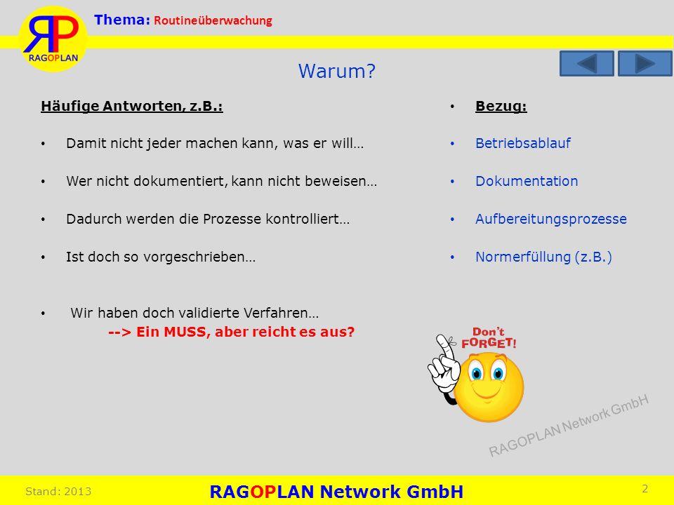 RAGOPLAN Network GmbH Thema: Routineüberwachung Stand: 2013 Bezug: Betriebsablauf Dokumentation Aufbereitungsprozesse Normerfüllung (z.B.) 2 Warum? Hä