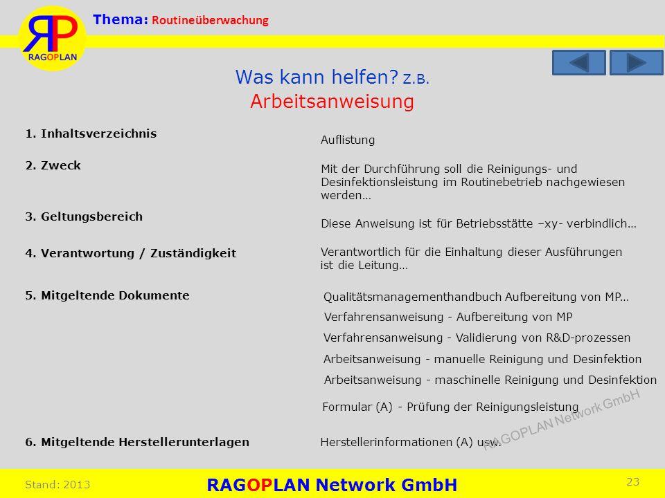 Thema: Routineüberwachung Stand: 2013 23 Arbeitsanweisung 1. Inhaltsverzeichnis 2. Zweck Mit der Durchführung soll die Reinigungs- und Desinfektionsle