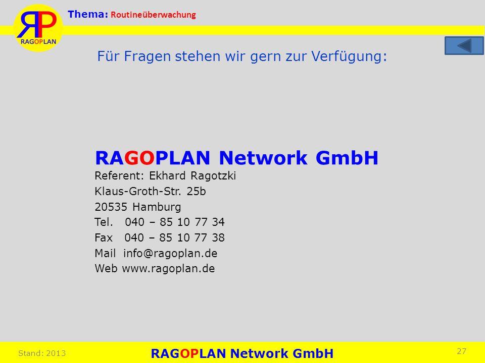 Thema: Routineüberwachung Stand: 2013 27 Für Fragen stehen wir gern zur Verfügung: RAGOPLAN Network GmbH Referent: Ekhard Ragotzki Klaus-Groth-Str. 25