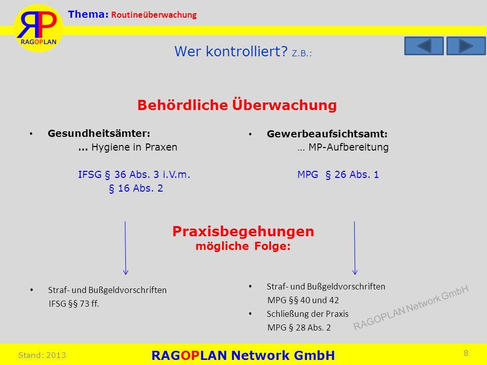 Thema: Routineüberwachung Stand: 2013 Gewerbeaufsichtsamt: … MP-Aufbereitung MPG § 26 Abs. 1 8 Wer kontrolliert? Z.B.: Gesundheitsämter: … Hygiene in