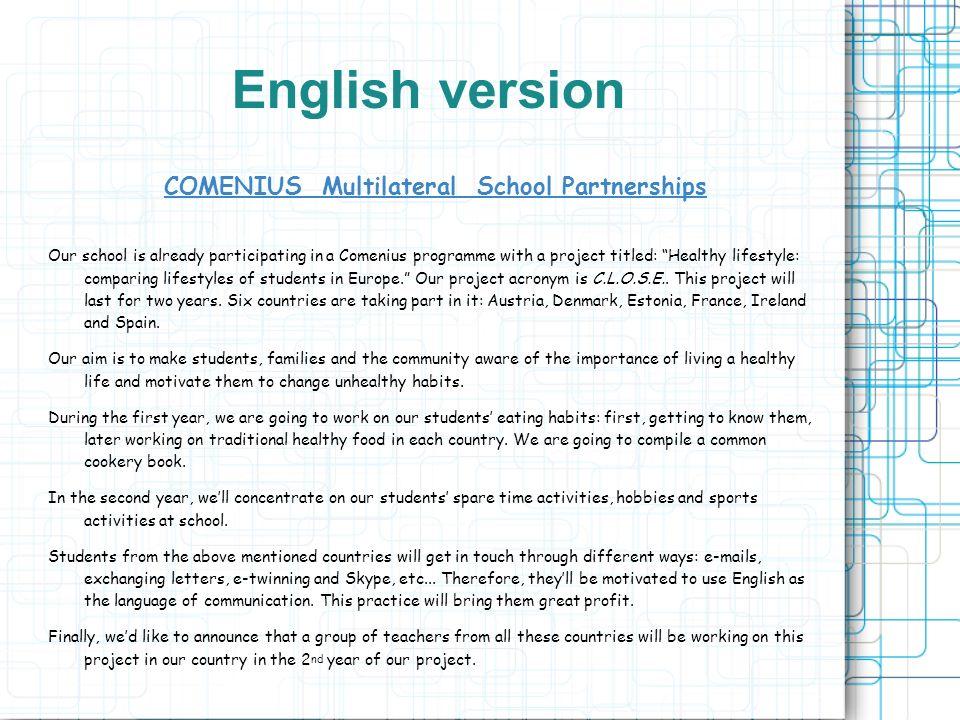 Schwerpunkte Allgemein: - Fremdsprachenkompetenz - Vielfalt europ.