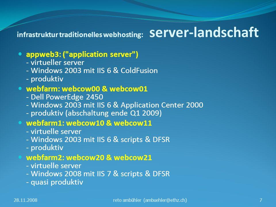 traditionelles webhosting vs WCMS traditionelles webhosting WCMS eigene URLJA https / SSLJA zugriff auf eigene datenSMB, WebDAVsilva, upload vorgegebenes designNEINJA editierhilfenNEINJA scriptingASP, ASP.net, PHPNEIN zugriffs-statistikWebTrendsanalog verantwortlich reto ambühler markus egli webmaster@ethz.ch bengt giger alessandro chiapparini wcms-betrieb@id.ethz.ch 28.11.20088reto ambühler (ambuehler@ethz.ch)