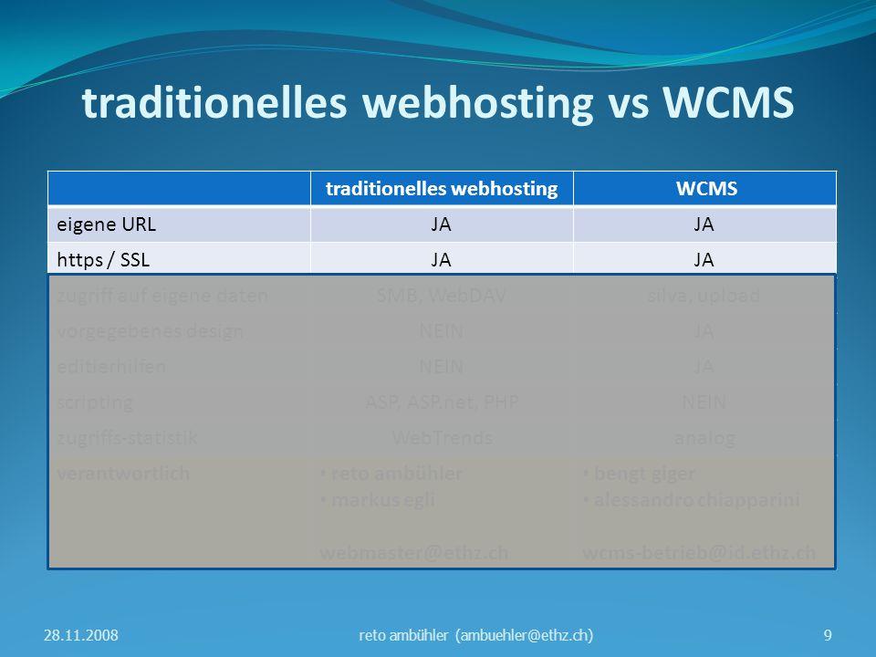 traditionelles webhosting vs WCMS traditionelles webhosting WCMS eigene URLJA https / SSLJA zugriff auf eigene datenSMB, WebDAVsilva, upload vorgegebenes designNEINJA editierhilfenNEINJA scriptingASP, ASP.net, PHPNEIN zugriffs-statistikWebTrendsanalog verantwortlich reto ambühler markus egli webmaster@ethz.ch bengt giger alessandro chiapparini wcms-betrieb@id.ethz.ch 28.11.200810reto ambühler (ambuehler@ethz.ch)
