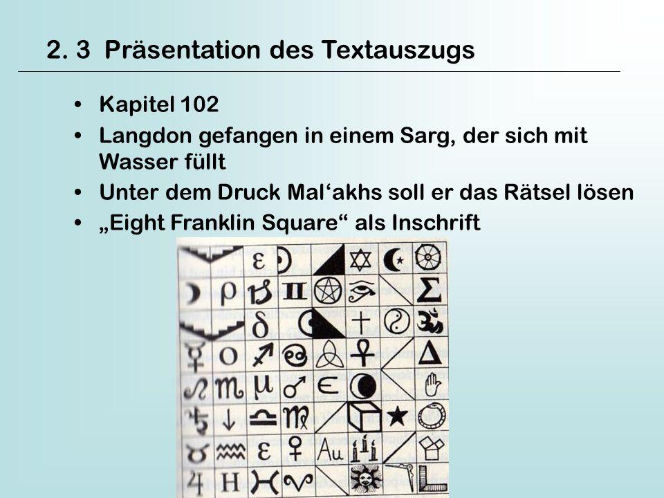 2. 3 Präsentation des Textauszugs Kapitel 102 Langdon gefangen in einem Sarg, der sich mit Wasser füllt Unter dem Druck Malakhs soll er das Rätsel lös