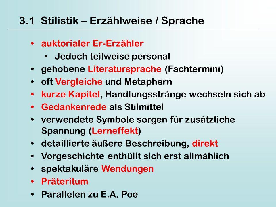 3.1 Stilistik – Erzählweise / Sprache auktorialer Er-Erzähler Jedoch teilweise personal gehobene Literatursprache (Fachtermini) oft Vergleiche und Met