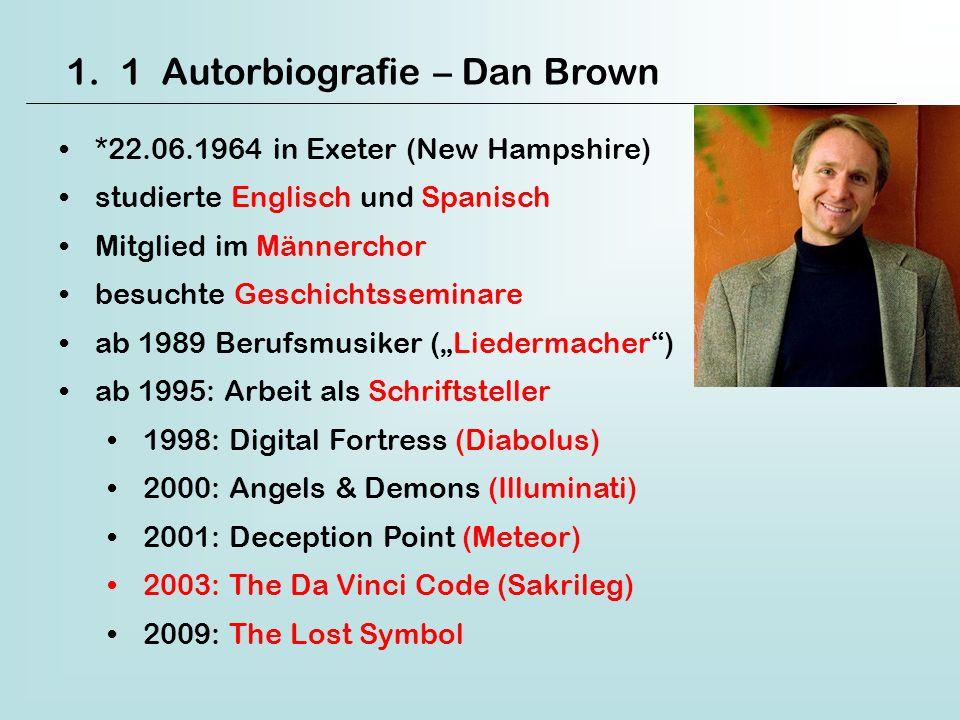 1.1 Autorbiografie – Dan Brown *22.06.1964 in Exeter (New Hampshire) studierte Englisch und Spanisch Mitglied im Männerchor besuchte Geschichtsseminar
