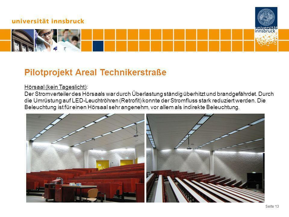 Seite 13 Pilotprojekt Areal Technikerstraße Hörsaal (kein Tageslicht): Der Stromverteiler des Hörsaals war durch Überlastung ständig überhitzt und bra