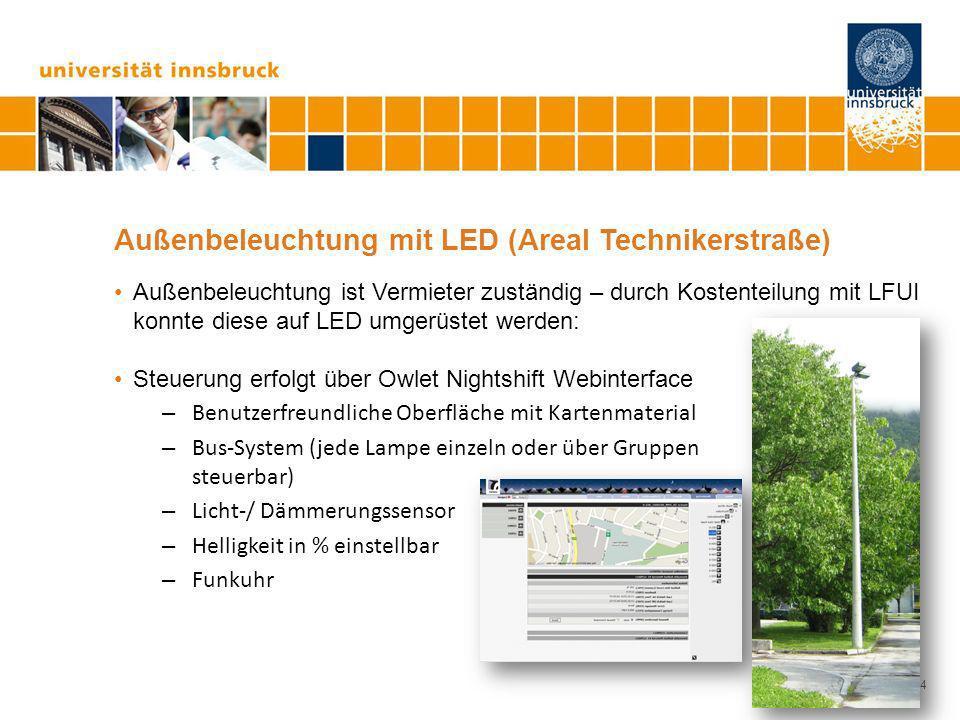 Seite 14 Außenbeleuchtung mit LED (Areal Technikerstraße) Außenbeleuchtung ist Vermieter zuständig – durch Kostenteilung mit LFUI konnte diese auf LED