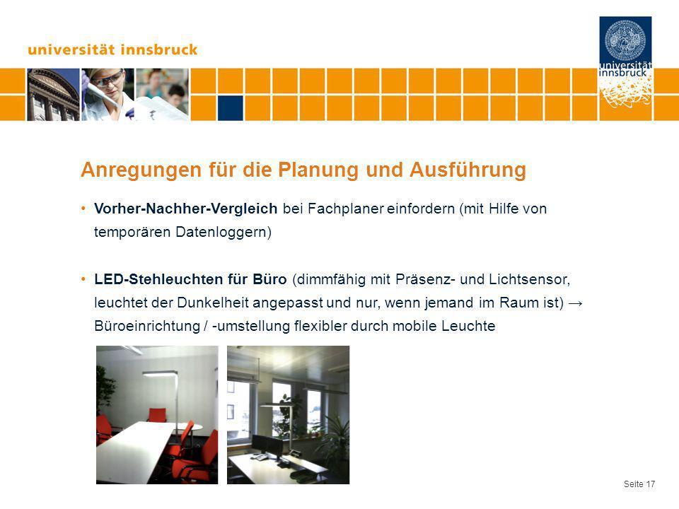 Seite 17 Anregungen für die Planung und Ausführung Vorher-Nachher-Vergleich bei Fachplaner einfordern (mit Hilfe von temporären Datenloggern) LED-Steh