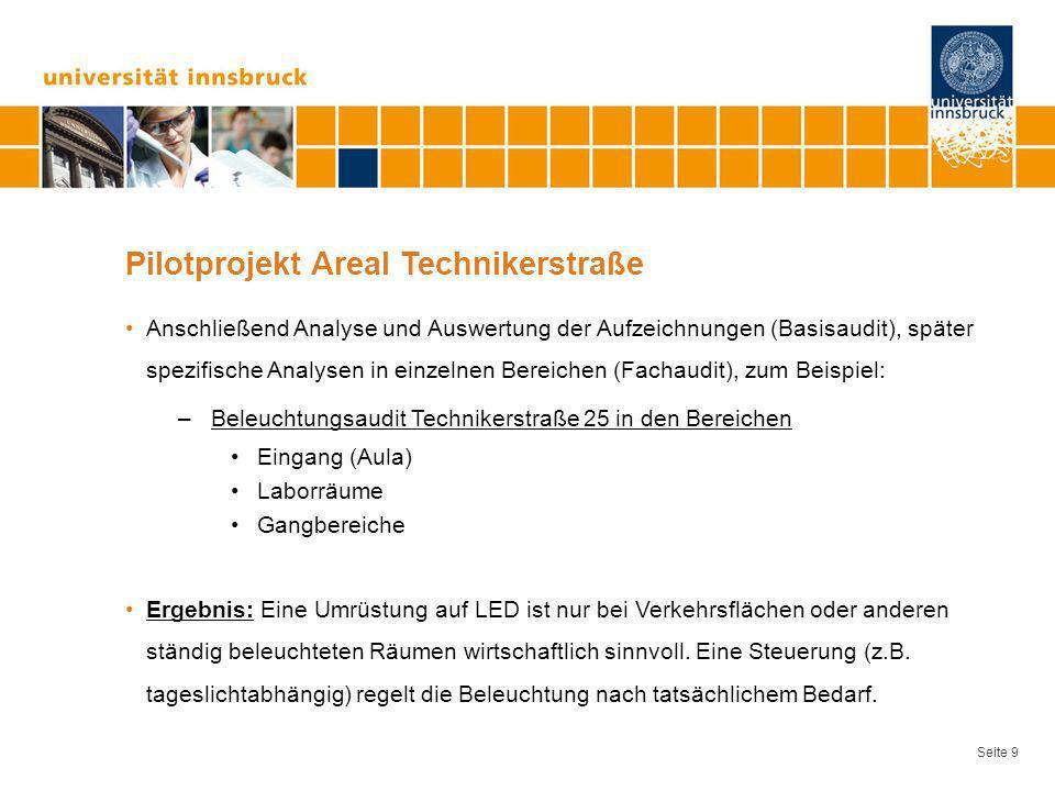 Seite 9 Pilotprojekt Areal Technikerstraße Anschließend Analyse und Auswertung der Aufzeichnungen (Basisaudit), später spezifische Analysen in einzeln