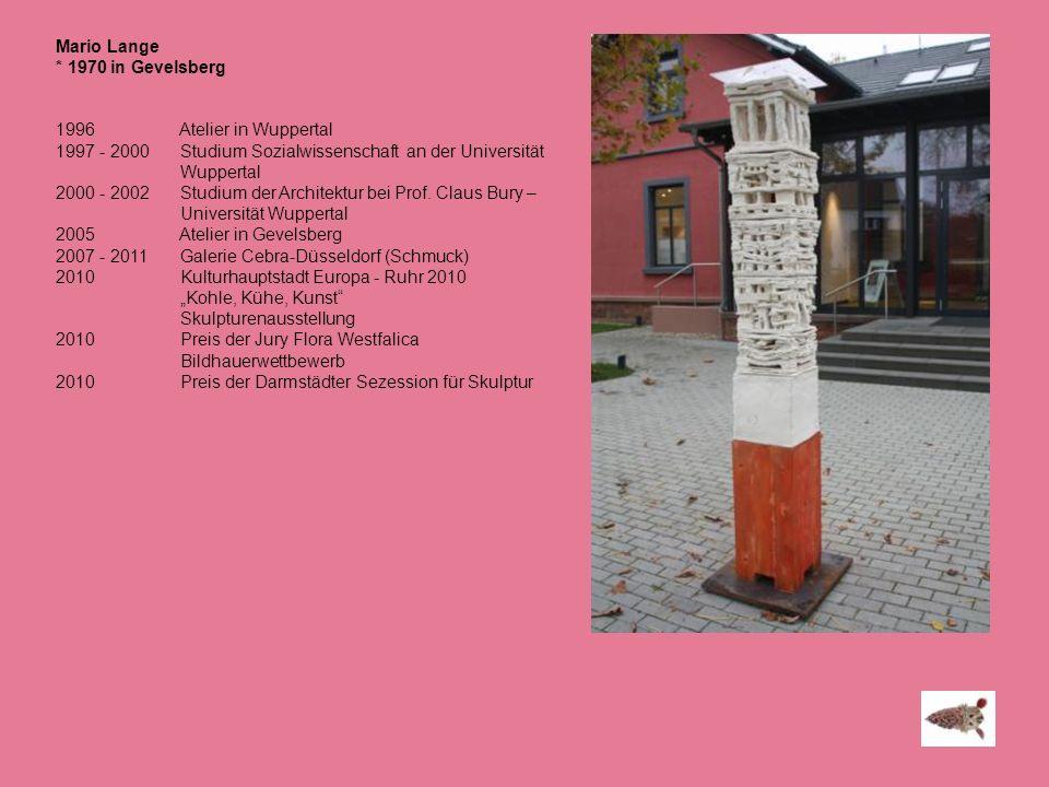 Mario Lange * 1970 in Gevelsberg 1996 Atelier in Wuppertal 1997 - 2000 Studium Sozialwissenschaft an der Universität Wuppertal 2000 - 2002 Studium der