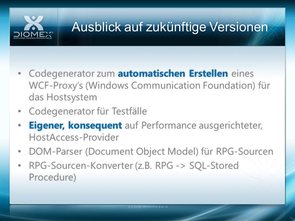Ausblick auf zukünftige VersionenAusblick auf zukünftige Versionen (c) by Diomex Software GmbH & Co. KG Codegenerator zum automatischen Erstellen eine
