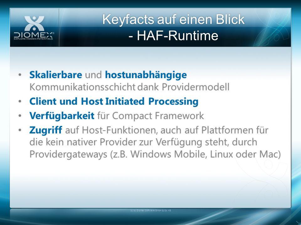 Keyfacts auf einen Blick - HAF-Runtime (c) by Diomex Software GmbH & Co. KG Skalierbare und hostunabhängige Kommunikationsschicht dank Providermodell