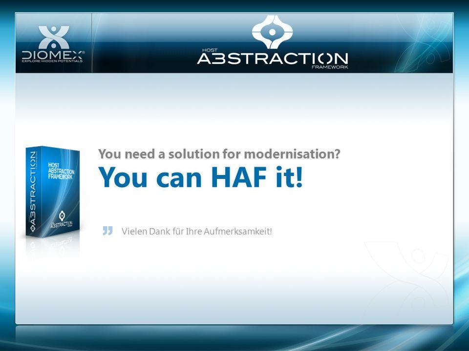 You can HAF it!You can HAF it! You need a solution for modernisation?You need a solution for modernisation? Vielen Dank für Ihre Aufmerksamkeit!Vielen