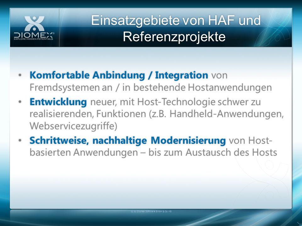 Einsatzgebiete von HAF und Referenzprojekte (c) by Diomex Software GmbH & Co. KG Komfortable Anbindung / Integration von Fremdsystemen an / in bestehe